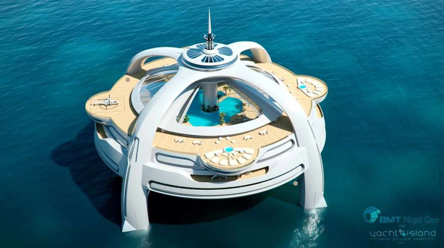 Yachts middle east - Project Utopia - yacht island design - BMT Nigel Gee - top
