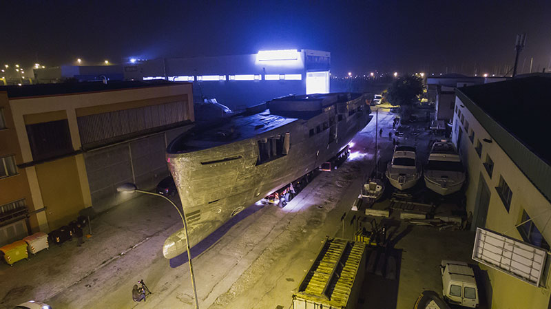 Yachts middle east - WIDER 165' - Project Cecilia Italian Yacht Builder's Flagship moves into shipyard for fitting out