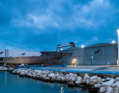 WORK CONTINUES ON THE NEW 79 METRE M/Y CRN 135 AT THE ANCONA SHIPYARD